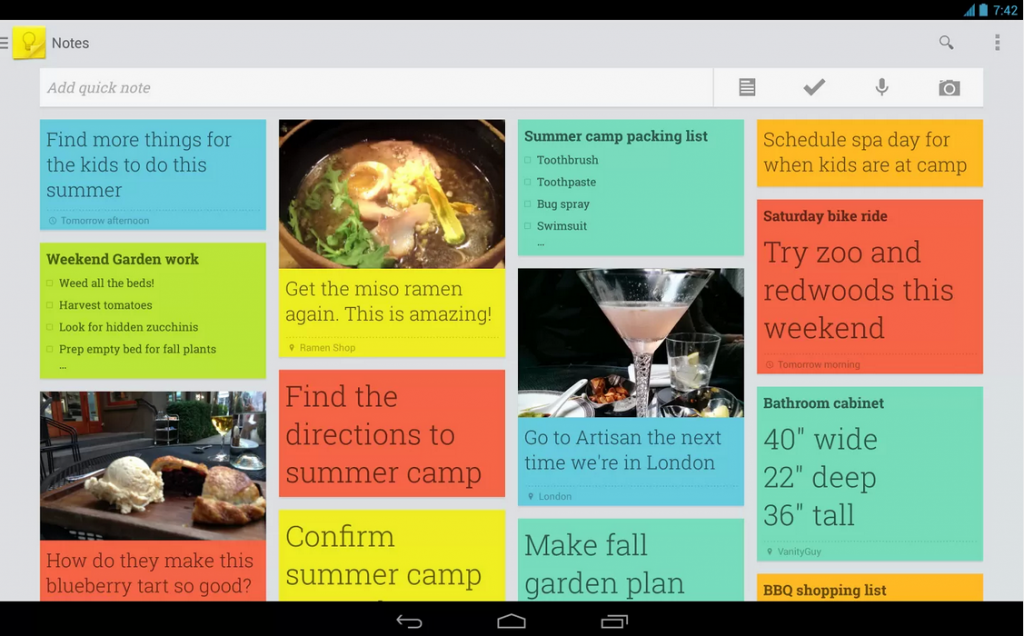 Capture d'écran Web Google Keep